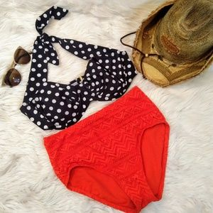 NWOT Vibrant Polka Dot High Waisted Bikini